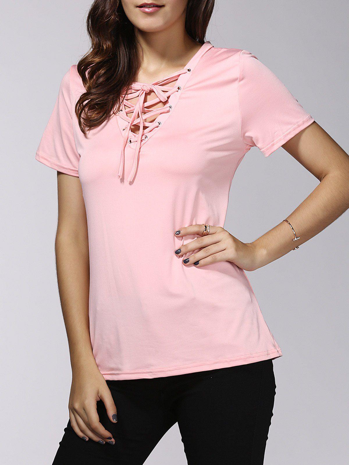 Stylish Short Sleeves V-Neck Lace-Up T-Shirt For Women