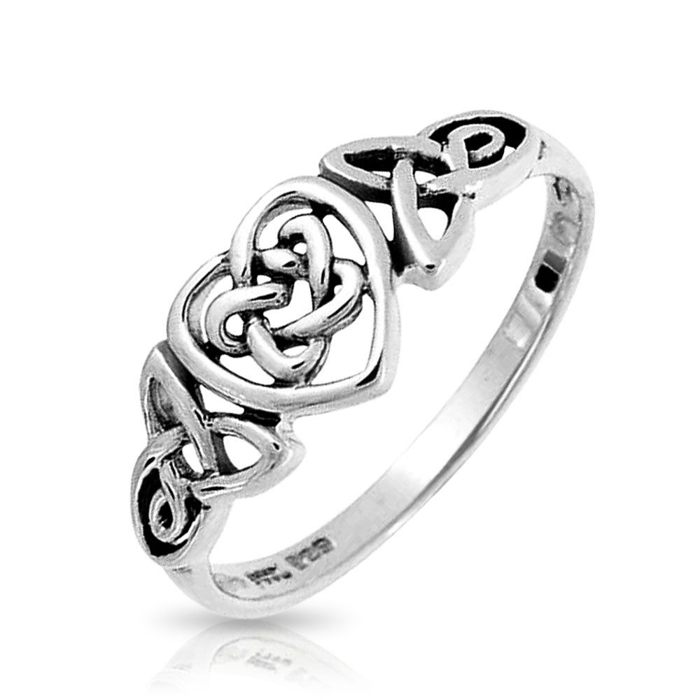 size 10 Sterling Silver Long Single Infinity Celtic Love Square Knot Ring