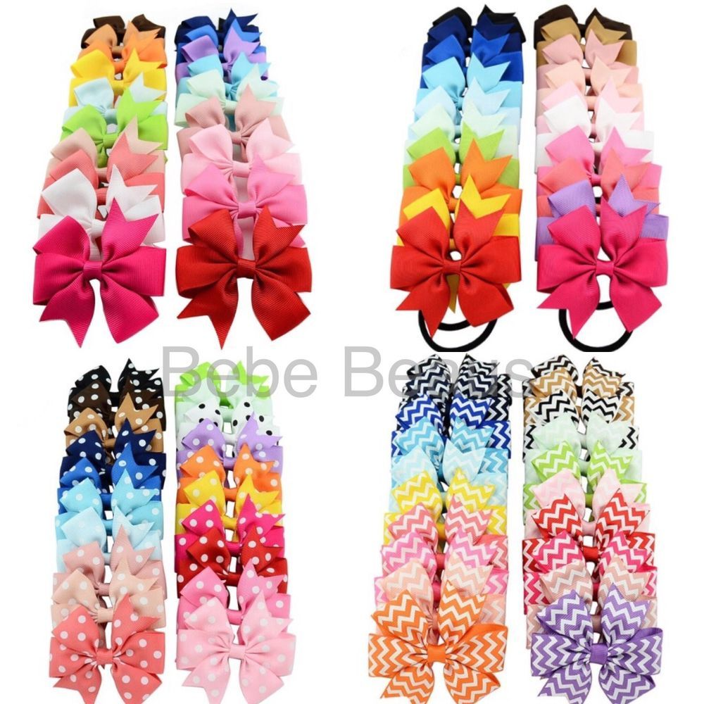 Hair accessories for babies ebay - Details About Uk Baby Girl Ribbon Bow Clip Elastic Spotty Stripes Hair Accessories Christmas