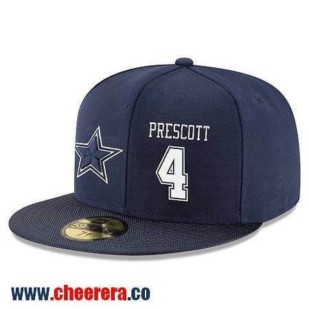 657a0cf944e Dallas Cowboys  4 Dak Prescott Snapback Cap NFL Player Navy Blue with White  Number Hat