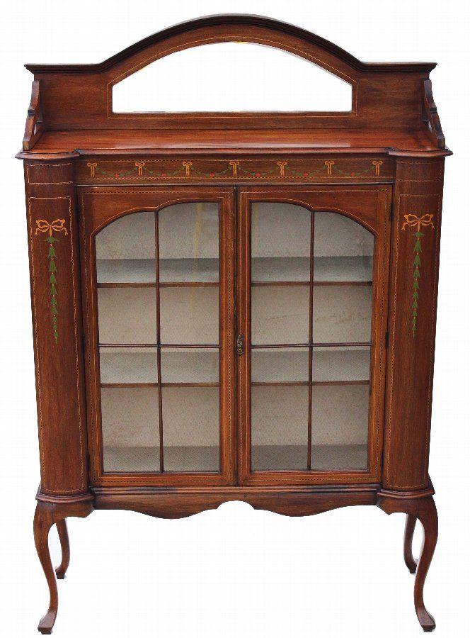 antique edwardian art nouveau inlaid mahogany glazed display cabinet
