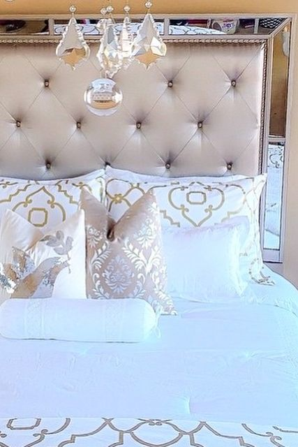 Glam bedroom inspiration! Pretty gold detailed bedding, with ...