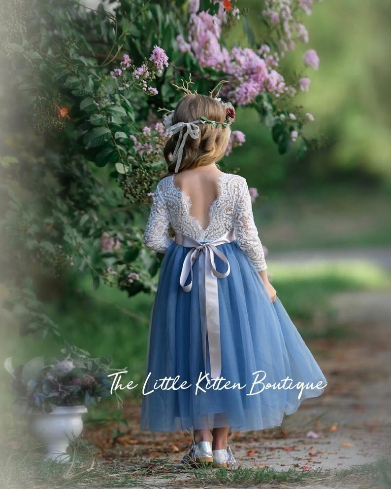 Tulle Flower Girl Dress Rustic Lace Flower Girl Dresses Long Sleeve Flower Girl Dresses Boho Flower Girl Dress Dusty Blue Flower Girl Flower Girl Dresses Boho Flower Girl Dresses Tulle Flower