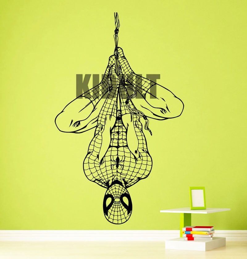 Spiderman Wall Stickers Home Decorations Bedroom Den Boy Room Vinyl ...