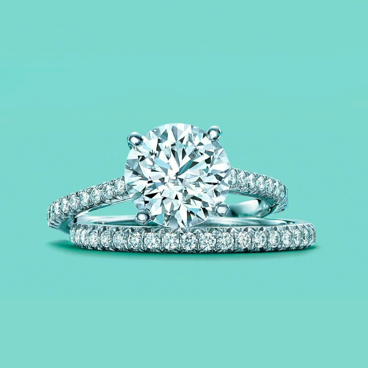 Unique Dream Engagement Ring Classic and Round with Diamond Band Tiffany Novo Tiffany u Co