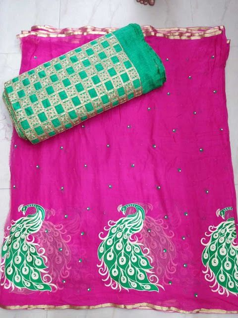9b5267941 Pure Georgette Saree with peacock work paired with desiger blouse ...