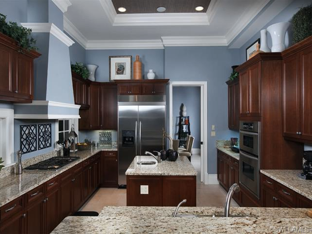 I like this wall color, and itu0027s nice that the floor is lighter than  cabinets. Floor is too light for me but still. (Blue gray kitchen with dark  cabinets in ...