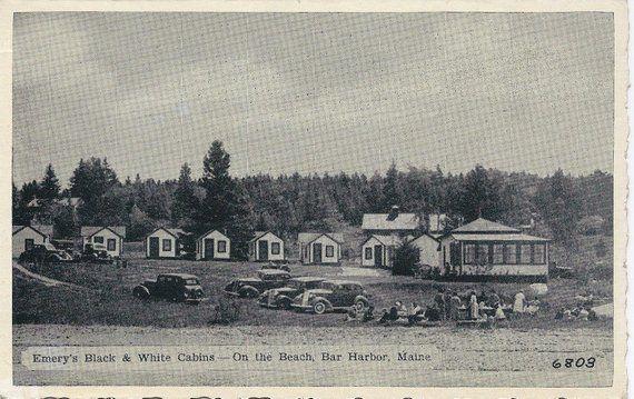 Admirable Vintage Maine Postcard Emerys Black White Cabins Bar Beutiful Home Inspiration Semekurdistantinfo