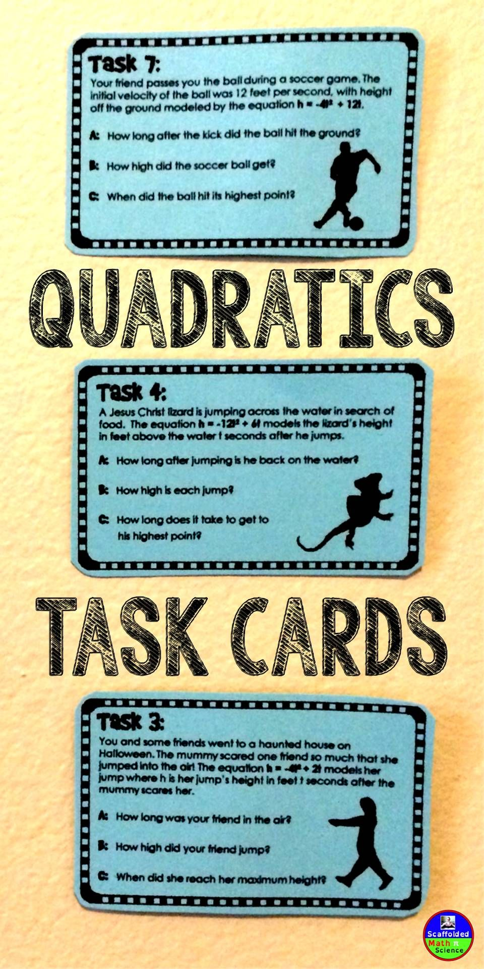 Quadratic Word Problems Task Cards {binomials} | Algebra I ...