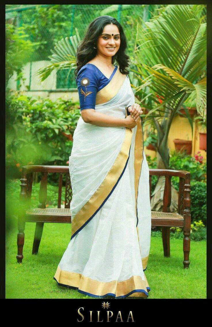Kerala saree  Graceful  Kerala saree blouse Kasavu