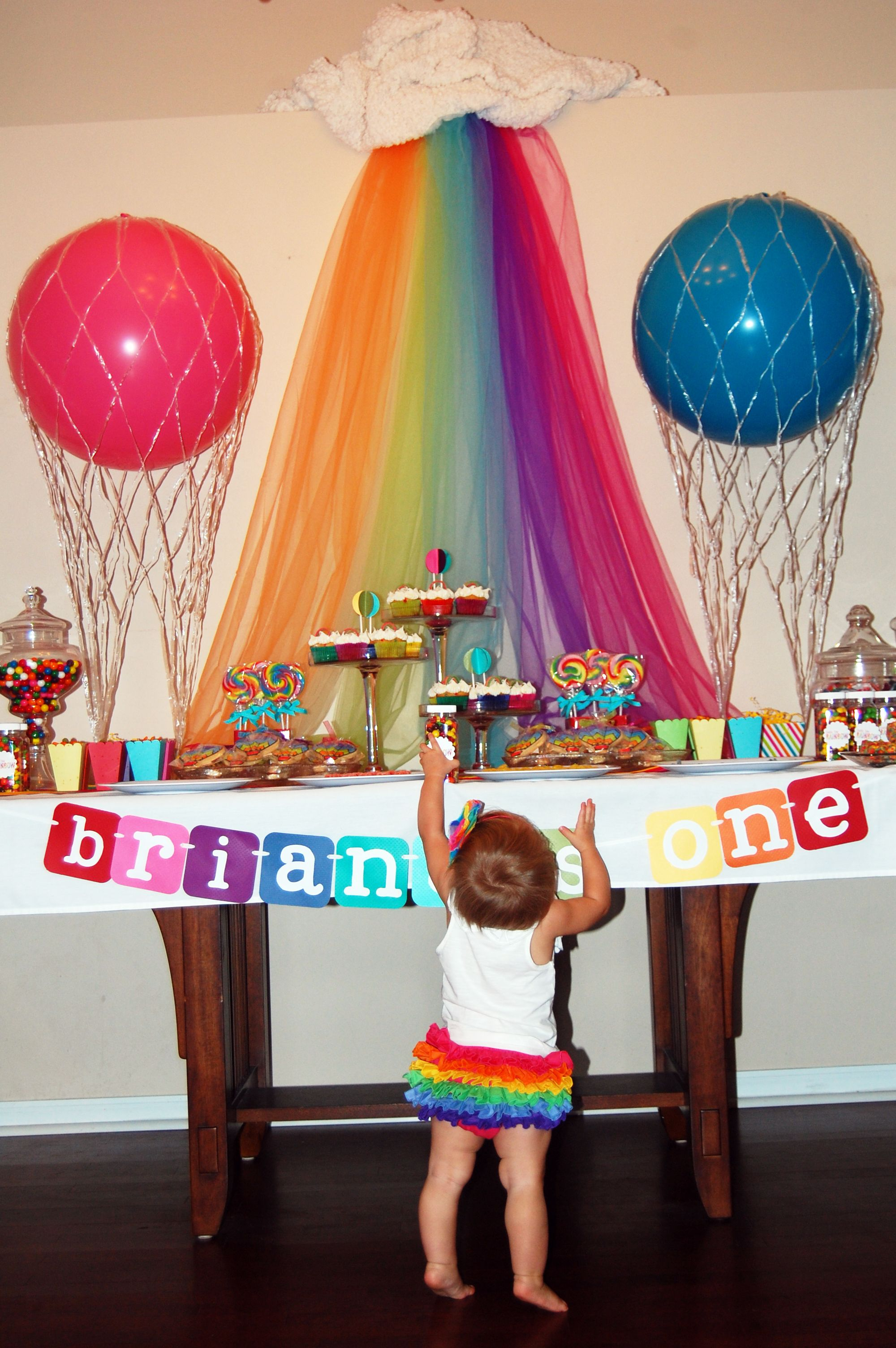 Rainbow Hot Air Balloon Themed Birthday Partyhmm Thinking Of Changing