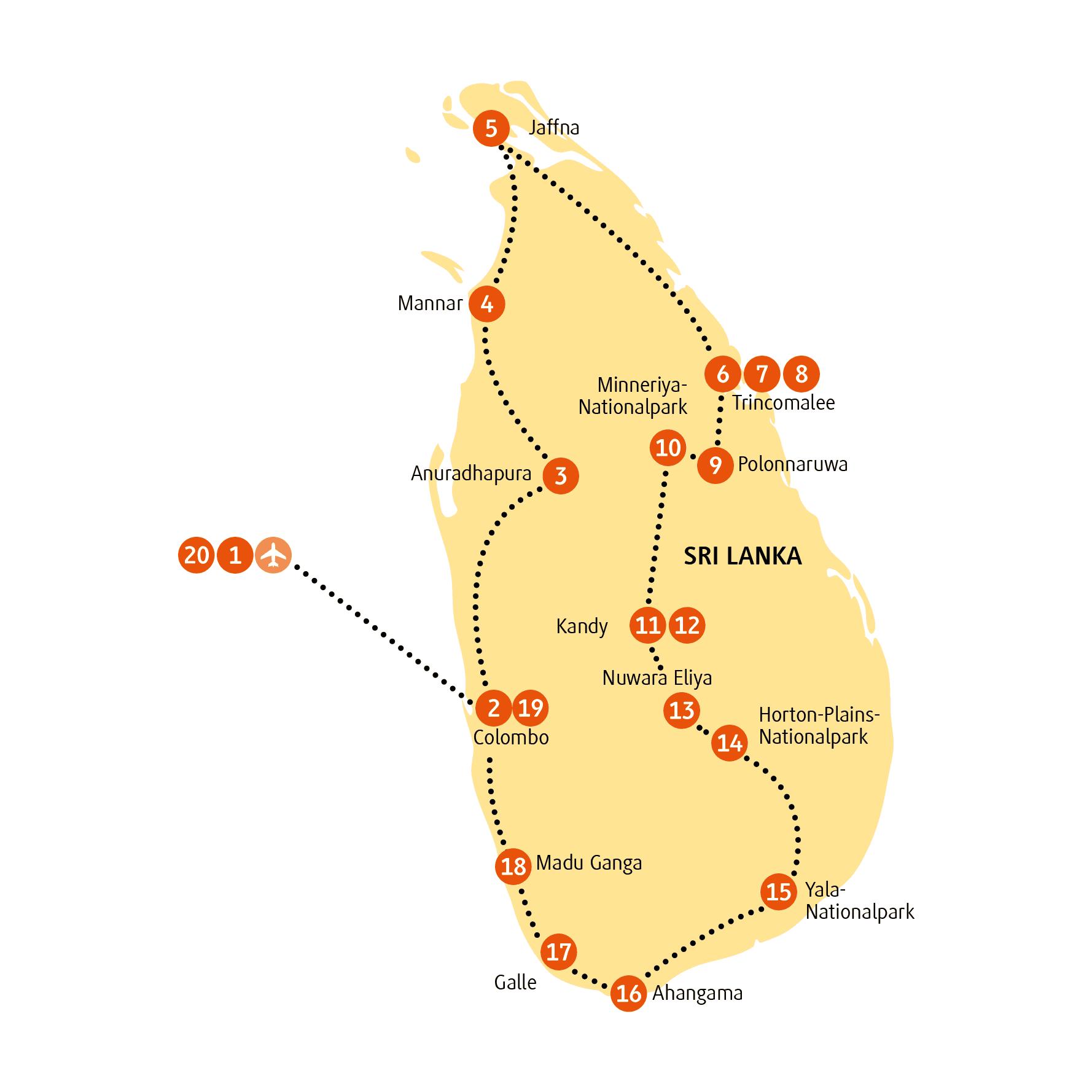 Reiseroute Sri Lanka Sapphire Sense Von Chamaleon 20 Tage Geniessen Sri Lanka Reisen Roadtrip