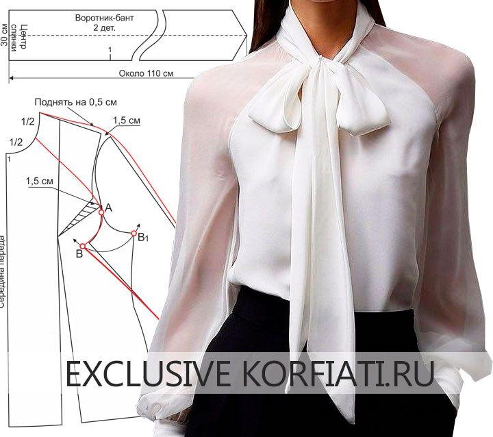 db7e4919f14 Выкройка блузки с воротником-бантом от Анастасии Корфиати