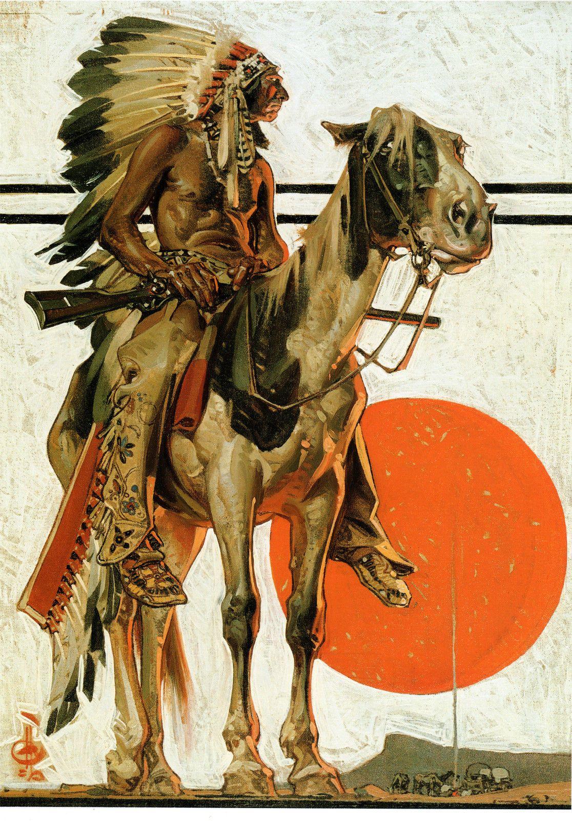 1923 j c leyendecker art print indian sunset horse 22x15