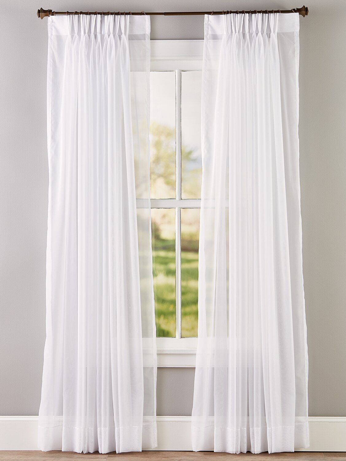 Classic Sheers 96 Inch And 144 Inch Pinch Pleat Curtains Natural 144in W X 84in L Pair Vermont Country Store In 2021 Curtains Pinch Pleat Large Window Curtains