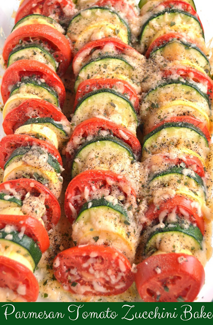 Parmesan Tomato Zucchini Bake is a simple recipe with layered fresh tomatoes zucchini and summer squash topped with garlic onions and parmesan cheese
