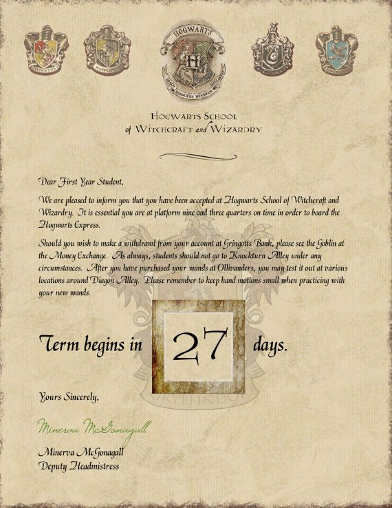 Harry Potter Hogwarts Acceptance Letter Countdown (With Touring