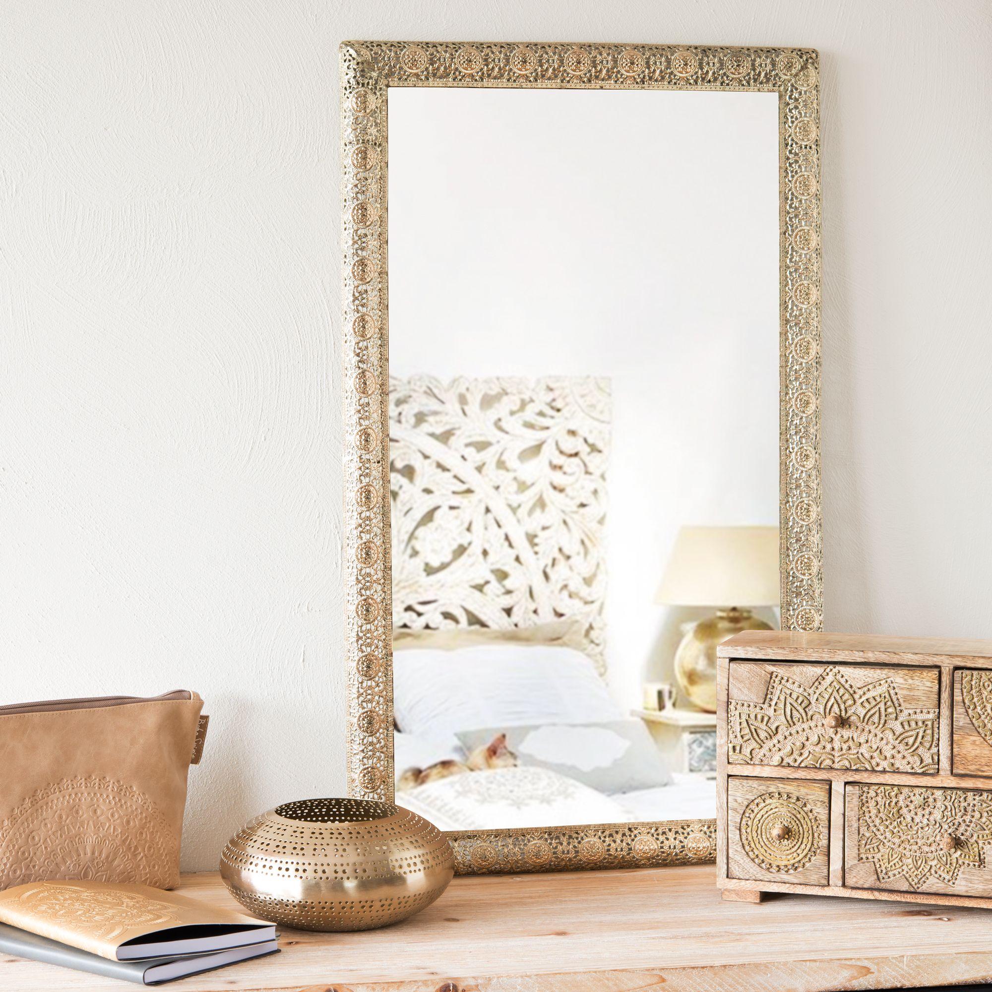 Spiegel aus Metall goldfarben H 75 cm BEJAIA Wohnen