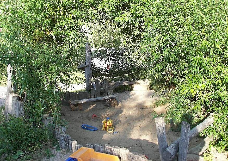 Sandkasten Und Schattendach Aus Weide Ideen Spielgerate Fur Kinder Spielpaltzgerate Spielplatzgestaltung Haus Und Garten Garten Kinderspielplatz Garten