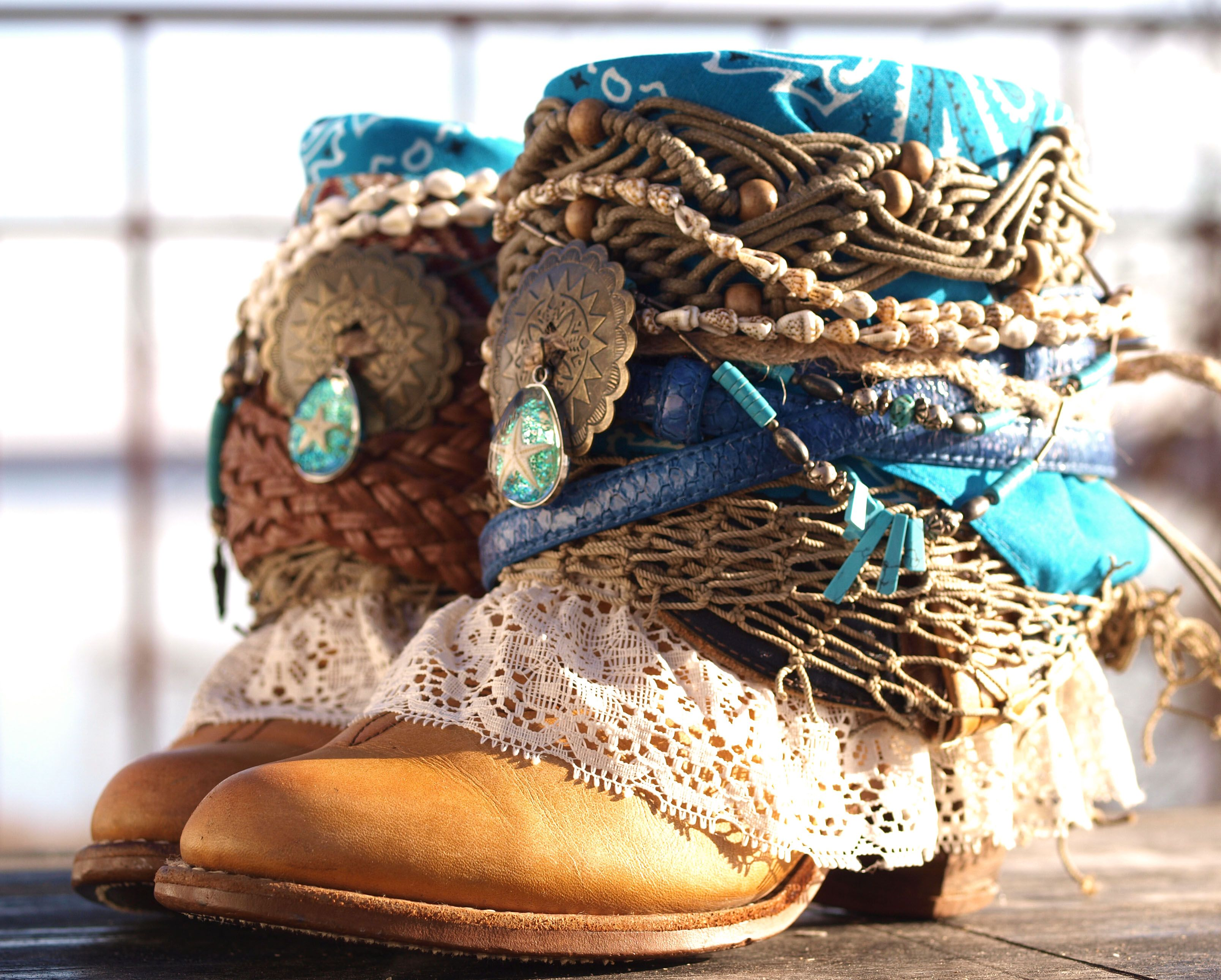 763f0c9a552 beachy boho boots - upcycled vintage boots from TheLookFactory on Etsy