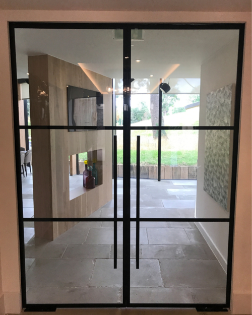 Frameless Fire Rated Door With Steel Look Design Fire Rated