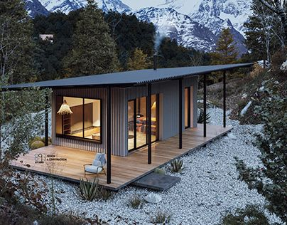 12 Mountain cabin house CGI and Free Design