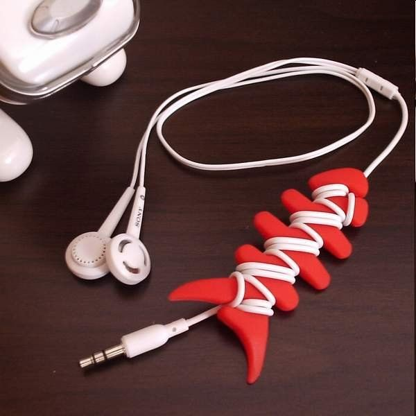 10 Pcs Fish Bone Earphone Cable Winder Headphone Cord Wire Wrap Holder Organizer