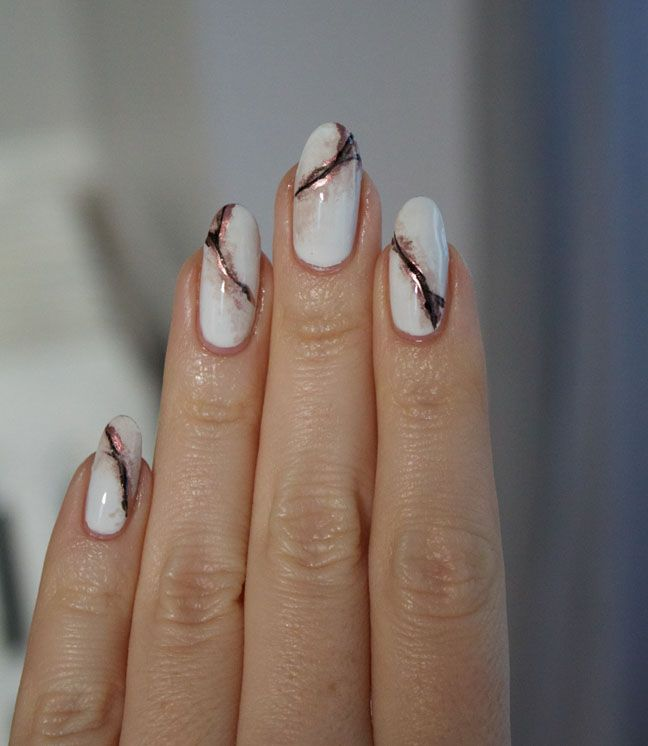 rose gold marble nails tutorial with pictures and products | Marble ...