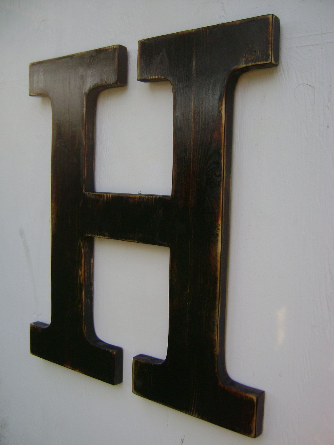 Big Wall Hanging Wooden Letter H Nursery Decor Painted Black 52 00 Via Etsy Hanging Wooden Letters Wooden Letters Wall Hanging