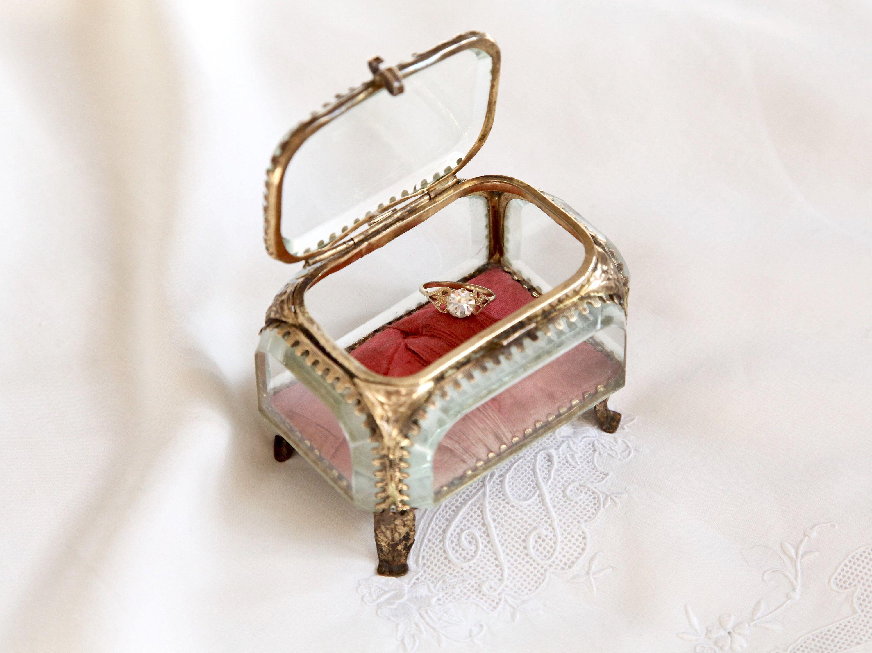 Antique Beveled Glass Ring Box, Vintage Ring Box, Wedding