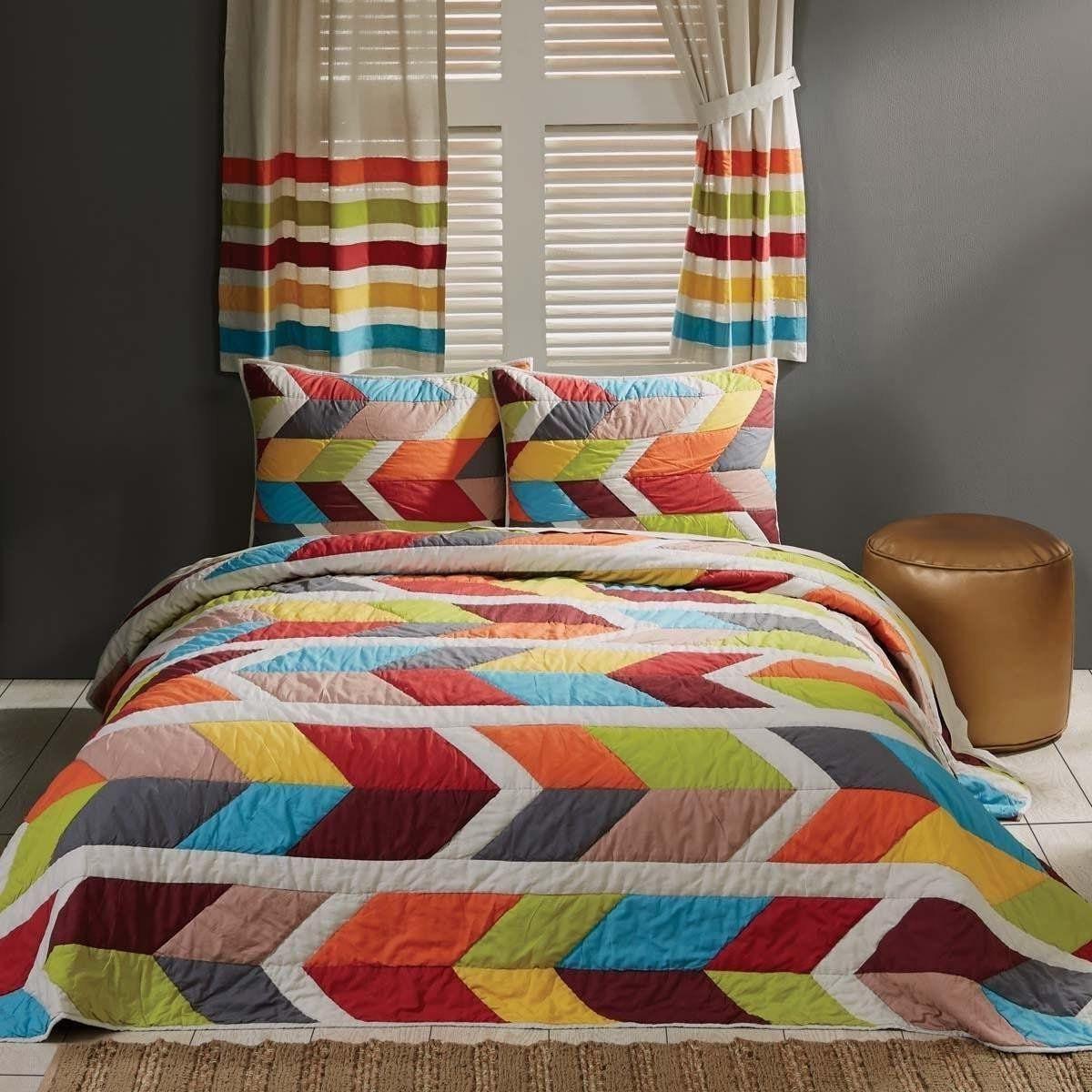 Duvet Cover /& Pillowcase Set 100/% Cotton Marrakesh White//Teal//Orange