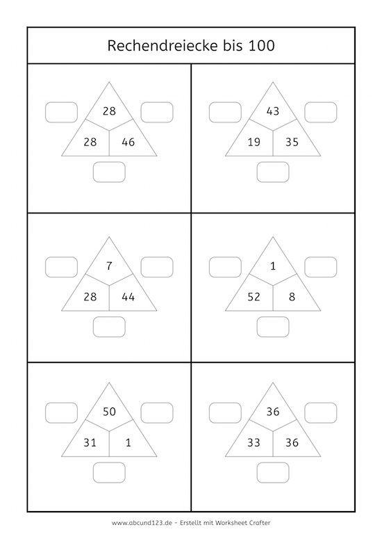 Rechendreiecke bis 100 #rechnen #Mathe #maths #freebie | vakke ...