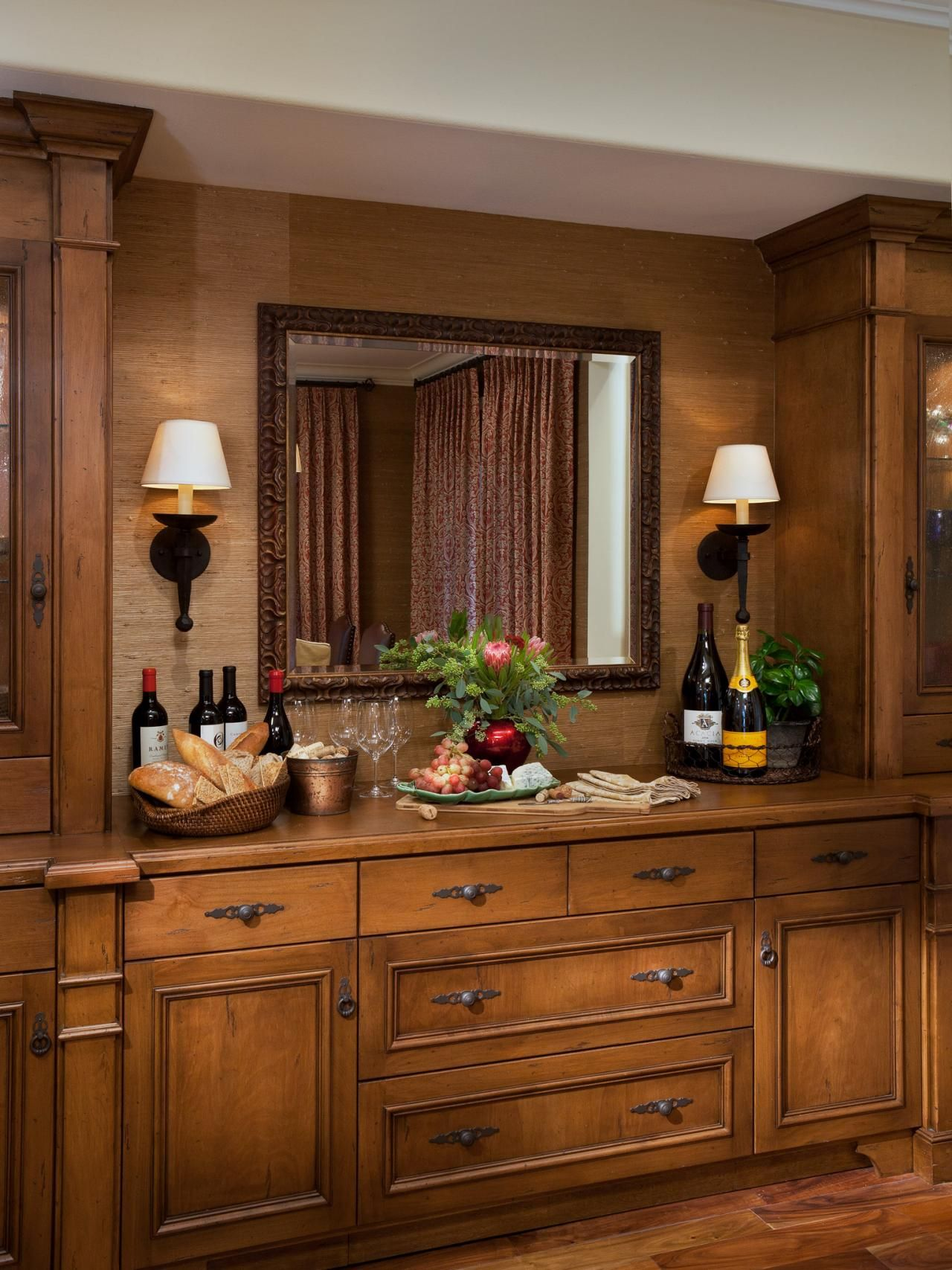 A Custom Built In Provides Storage While Doubling As Bar And Buffet For This Dining Room