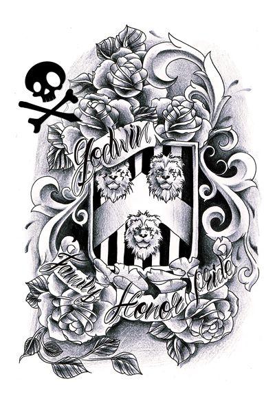 Family crest tattoo sketch, stencil design | Inkspired ...