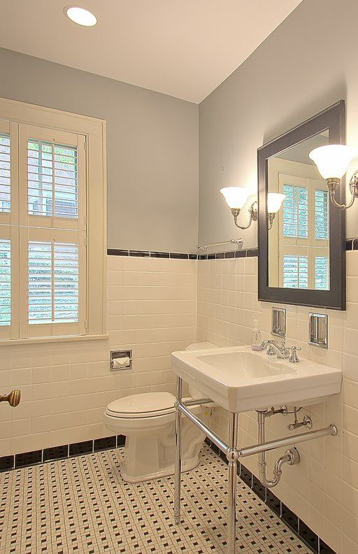 Small Bathroom Retro W Subway Tiles With Images Retro