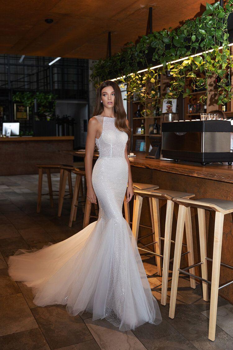 Beaded Fitted Wedding Dress — Liza Ray New York
