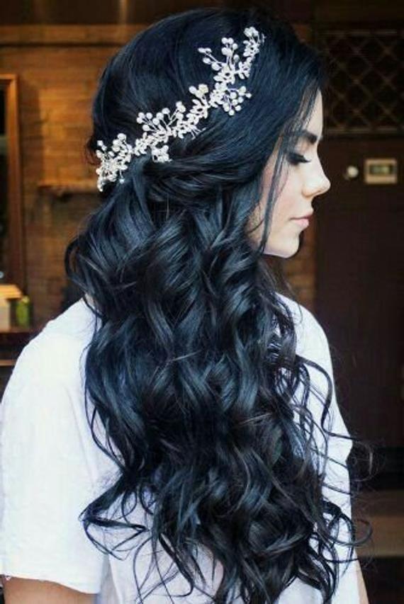 Boho Bridal Back Headpiece Bohemian Headpiece Wedding Pearl Headband Wedding Silver Tiara Wedding Ha – Hair