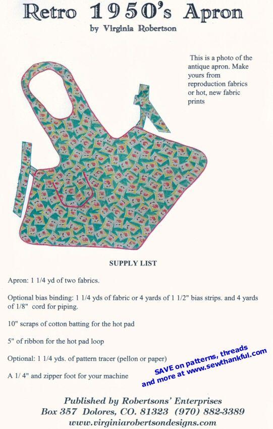 Free Printable Sewing Patterns | VINTAGE APRON SEWING PATTERNS ...