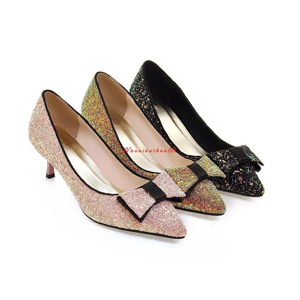 black glitter kitten heel shoes
