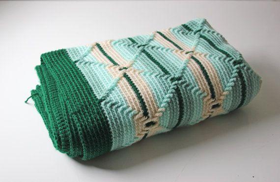 ON SALE.....mint green crochet afghan, woven granny blanket stripes diamond pattern 39 x 44 on Etsy, $37.00
