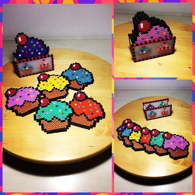 Cupcake coaster set hama perler beads by Mey Butik Atolye