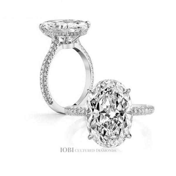 Alexandra 5ct Oval Petite French Pave Crown Iobi Cultured Diamond Oval Cut Diamond Engagement Ring Simulated Diamond Rings Engagement Diamond Engagement Rings