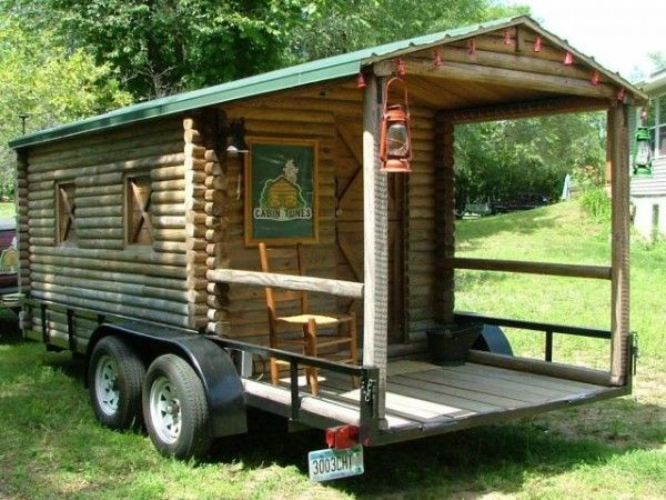 Log cabin on wheels with covered porch for sale 3 500 Tiny houses on wheels for sale