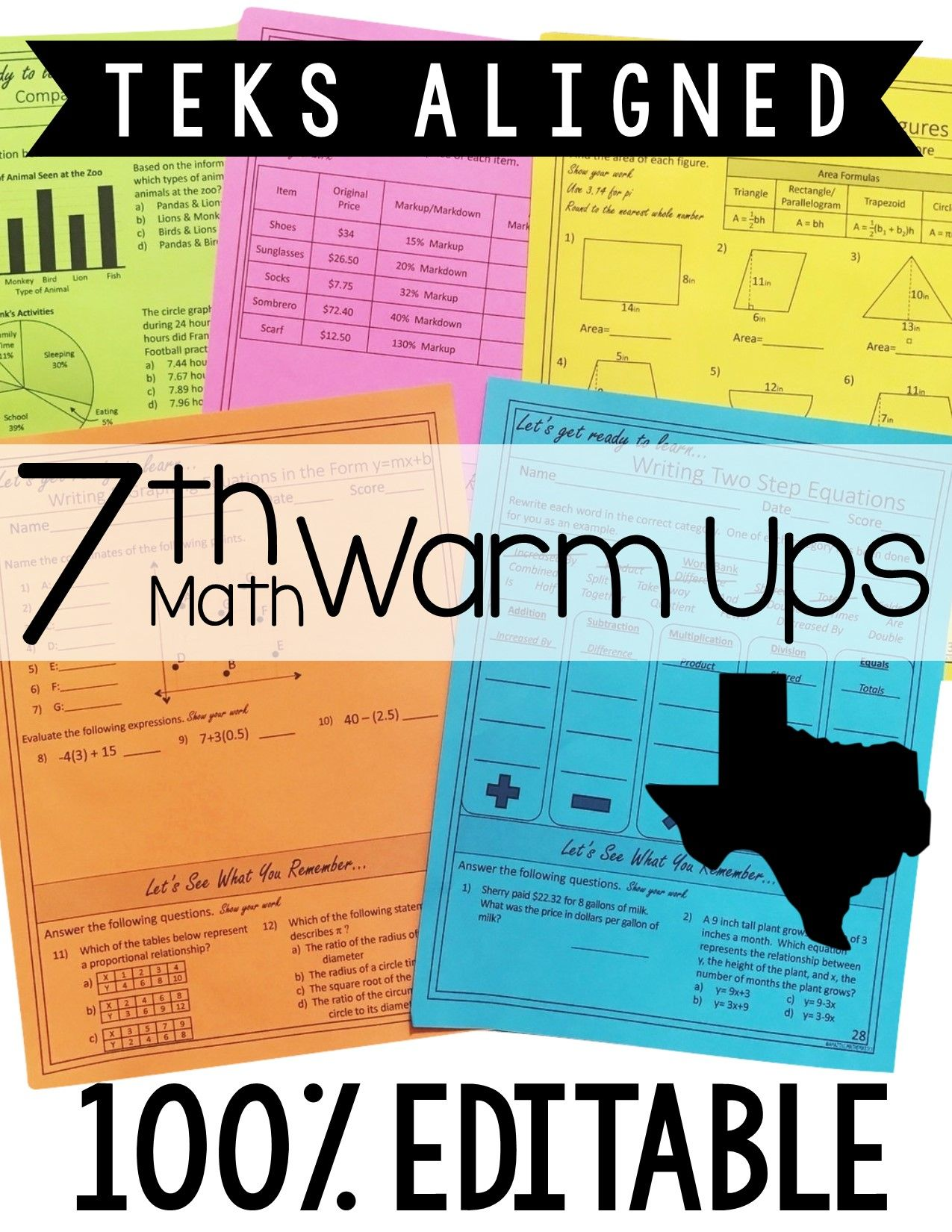 7th Grade Math Warm Ups - Year Long and Topic Based with Spiral ...