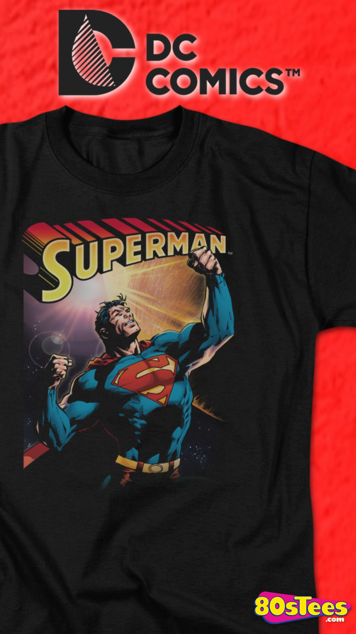 DC Comics Superman Tarot Card Mens Black T-Shirt