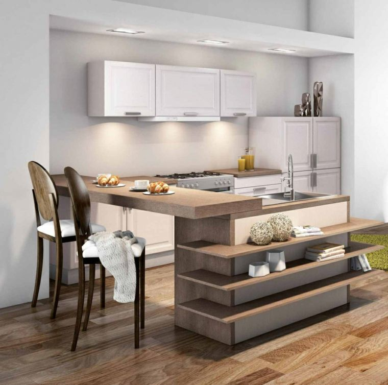 idee-arredare-cucina-mobili-legno-stile-isola-laterale ...