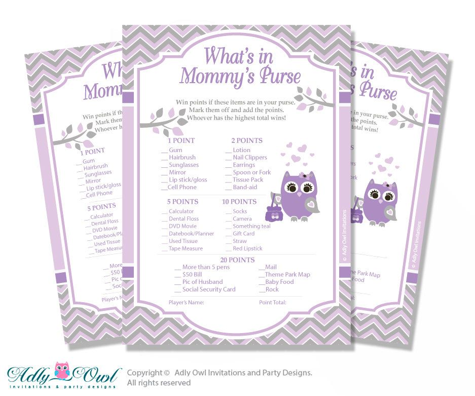 Purple Owl What is in Mommy\'s Purse, guess purse Game Printable ...
