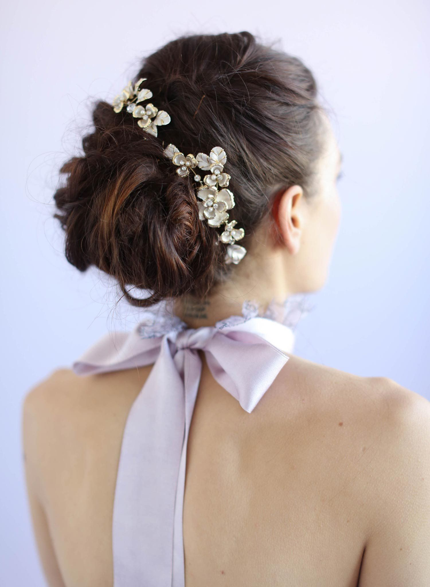 gilded floral comb pair - style #618 | montreal marriage