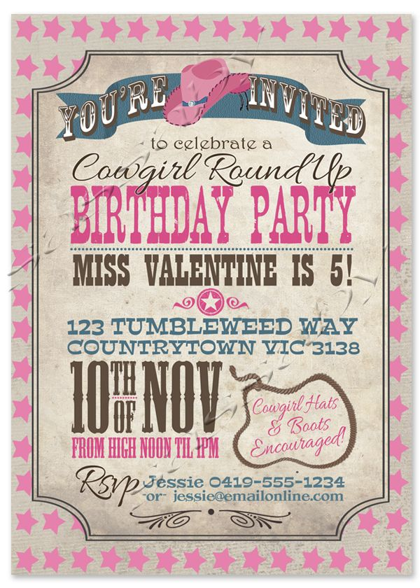Cowgirl Invitation Cowgirl birthday Header and Party invitations