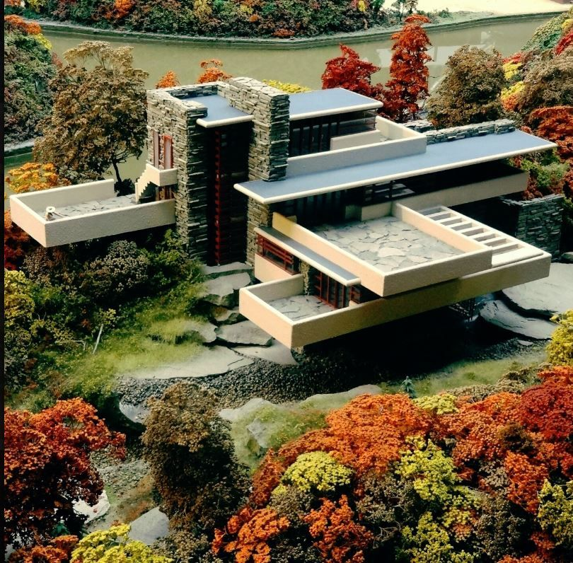 Fallingwater From Above By Architect Frank Lloyd Wright In 1935 In Rural Southwestern Penn Frank Lloyd Wright Architecture Waterfall House Organic Architecture